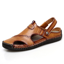 Big Size Classic Men Soft Sandals Comfortable Summer Shoes Leather Beach size 45,46,47,48