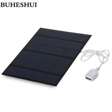 BUHESHUI  3.5W 6V Solar Charger Solar Cell  Polycrystalline Solar Panel Charger DIY Solar Mobile Charger For Power Bank