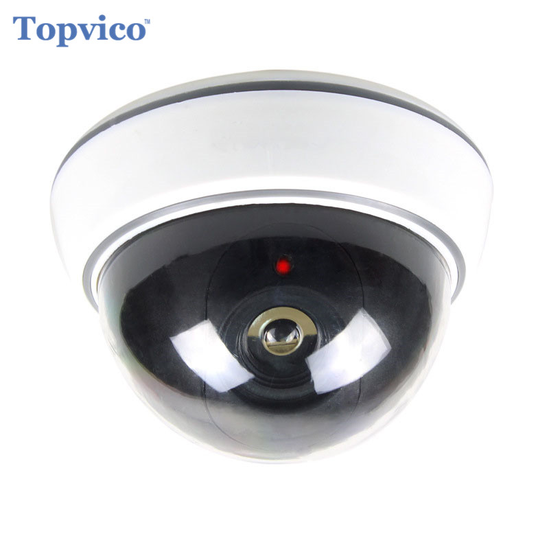 Topvico Fake Camera Battery Powered Flicker Blinking LED Indoor Dummy Surveillance House Home Security Camera CCTV Dome Camera