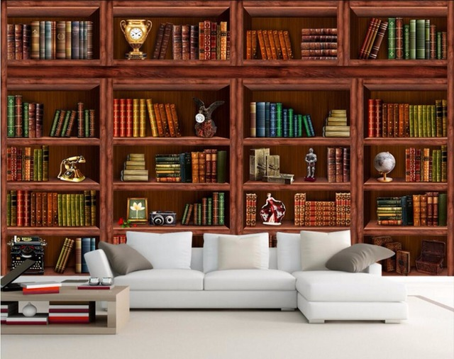 3d wallpaper custom mural bookcase bookshelf tv wall for Bookshelf mural wallpaper