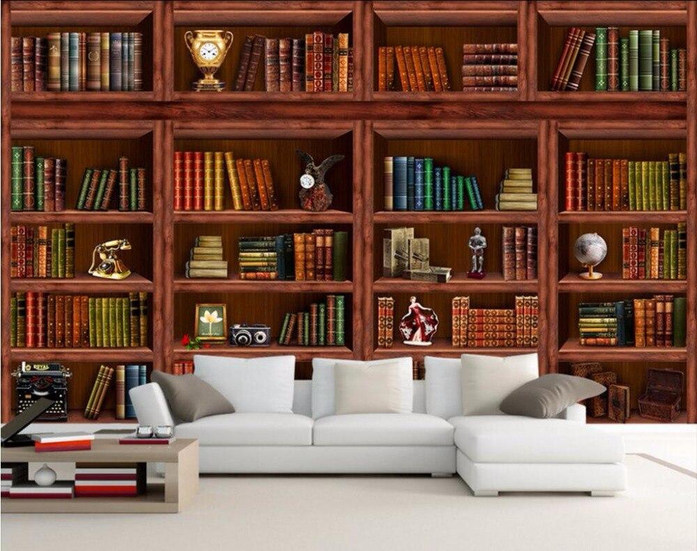 Realistic 3d illustration of modern wooden bookshelf against ston - 3d Wallpaper Custom Mural Bookcase Bookshelf Tv Wall Papers Home Decoration Painting 3d Wall Murals Wallpaper