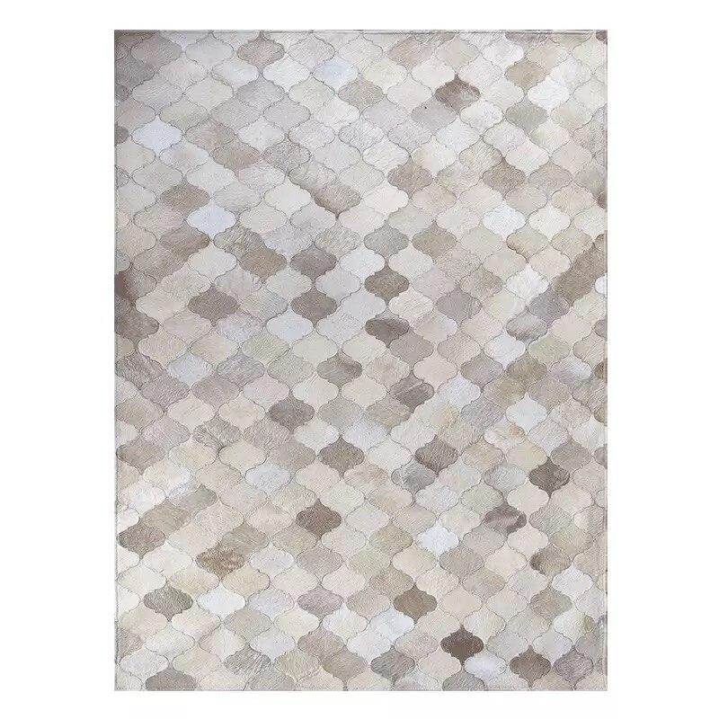 Moderne minimaliste ins scandinave salon table basse patchwork en cuir de vachette tapis mode tapis - 2