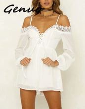 Genuo New Solid White Rompers Womens Jumpsuit Lace Long Sleeve Polka Dot Casual Playsuit Chiffon Off Shoulder Mesh Sexy