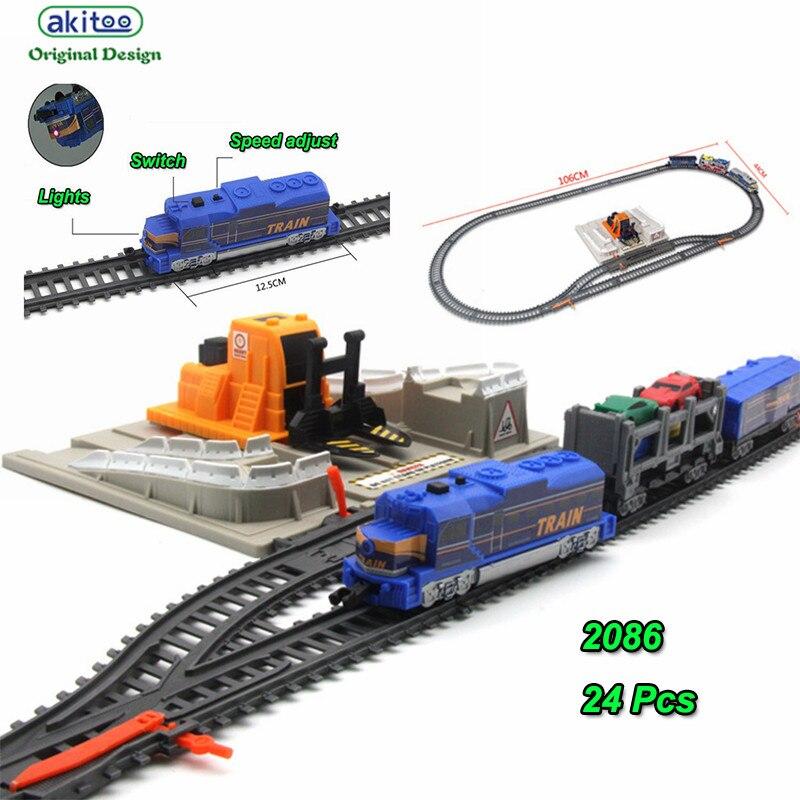 Akitoo 1026 paquet de voiture de rail de lumière électrique pleine longueur 304 cm simulation station de chargement enfants jouets éducation précoce jouets cadeau