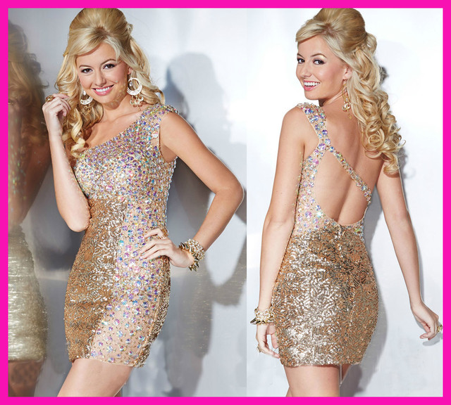 new arrival christmas gold crystal sequin one shoulder short party cocktail dress e5059