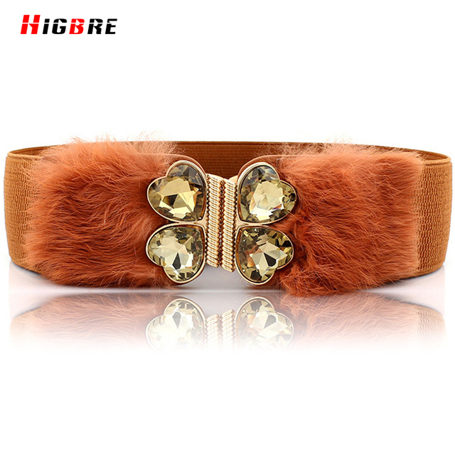 Autumn And Winter Fashion Rabbit Hair Vintage Women Wide Belt Female Red Elastic Women Belts Diamonds Girdle Cinturon Tactico
