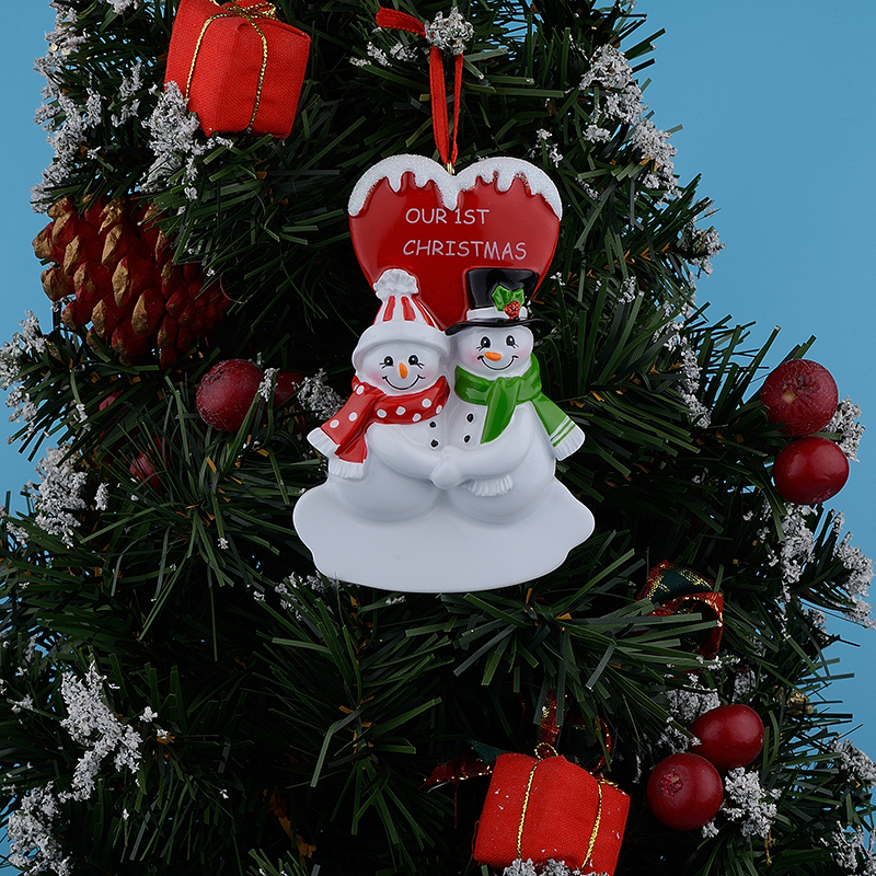 our first christmas couple snowman resin glossy hang personalized