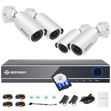 DEFEWAY 1080P HD high resolution 8CH CCTV Video security system 4pcs 2.0  camera survelliance kit outdoor weatherproof 1TB HDD
