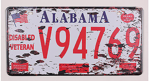SP-CP-0205 Hot Car License Plates number  Alabama V94769  Retro Vintage Metal tin signs Wall art craft painting 15x30cm