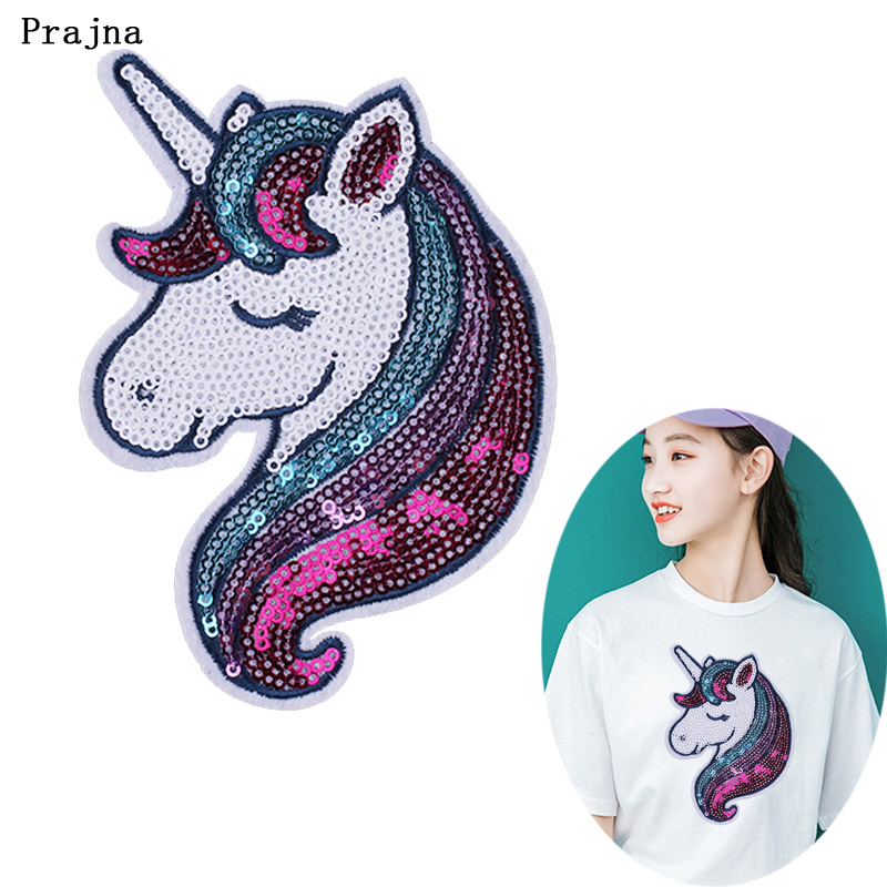 Prajna Rainbow Unicorn Patch Sequins Sewing Patches For Clothing Accessory 3D DIY Silver Star Badge Iron On Patches On Clothes H