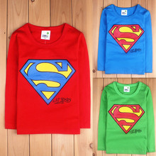 2016 spring and autumn child 100% cotton T-shirts baby girls boys long sleeve shirt child super man print top,