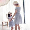 Summer New Brand High Quality Family Matching Clothes Striped Horizontal Collar Mom Daughter Dresses Family Look OutfIts