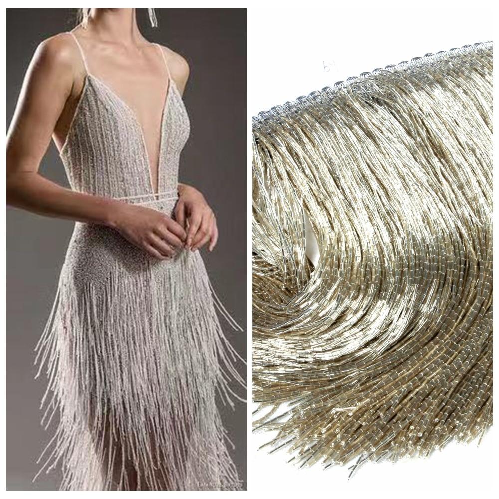 La Belleza Silver gold black beaded Fringe Ribbon Trim Fringe Tassel Lace Trim 5 meters Lot
