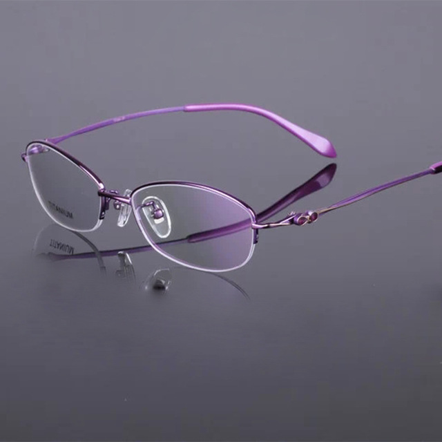 Fashion Women's Glasses Half Rimless pure Titanium Eyeglasses Frame Brand Optical Spectacles Eyewear Myopia Reading Glasses