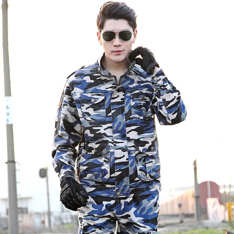 (10-Top&Pant) Forces Combat Uniform Military Training Overalls Jungle Fatigues Enthusiasts Dress Pure Cotton Ocean Camouflage