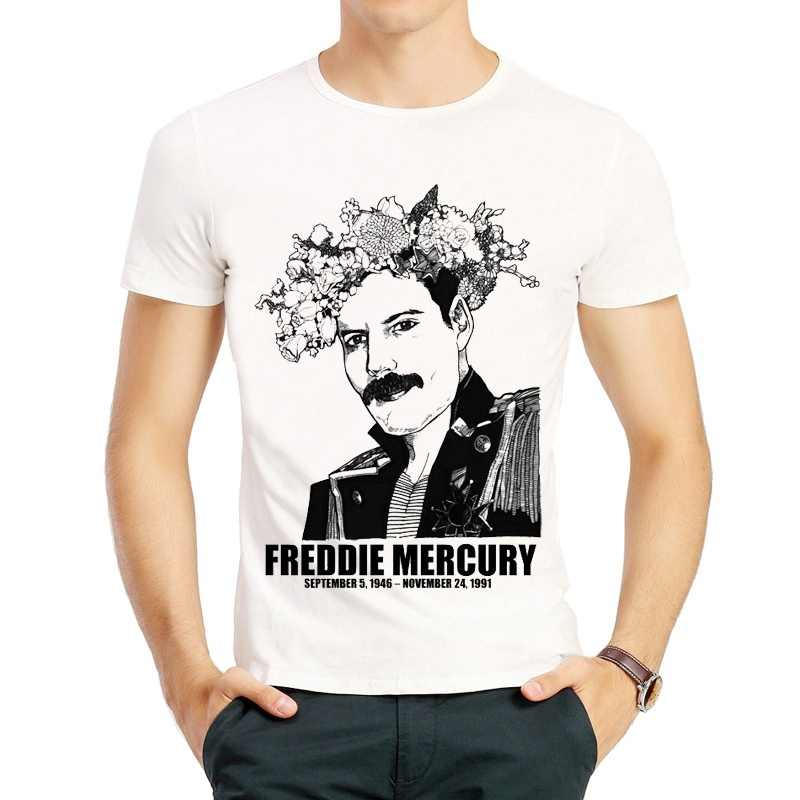 f3e012b44 Freddie Mercury T Shirt White Short Sleeve Fashion Male Freddie Mercury T-shirt  Tee Top