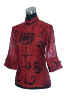 Burgundy Women S Cotton Chiffon Shirt Tops Sexy Hollow Out Blouse Chinese Tang Suit Tops Plus
