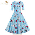 Sishion meia manga retro vintage dress s-4xl plus size balanço grande estampa floral rosa azul elegante primavera outono vestidos vd0397