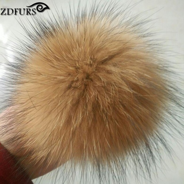 ZDFURS *14-15cm Real raccoon fur pom poms luxurious fur balls for knitted cap winter beanies real fur Accessories ZDA-164014