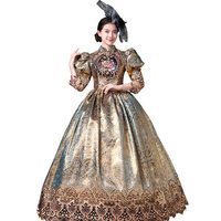 100% real rococo dark golden flower embroidery bubble long ball gown medieval dress Renaissance gown