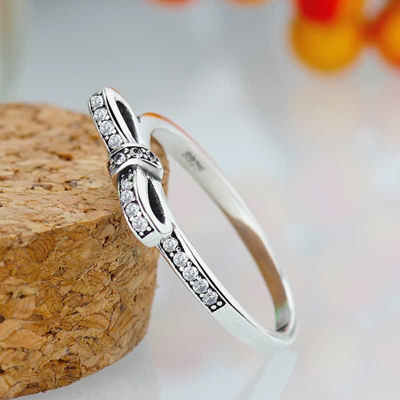 HOMOD 2019 nouvelle couleur argent étincelant noeud noeud marque empilable anneau Micro Pave CZ pour femmes bijoux de mariage
