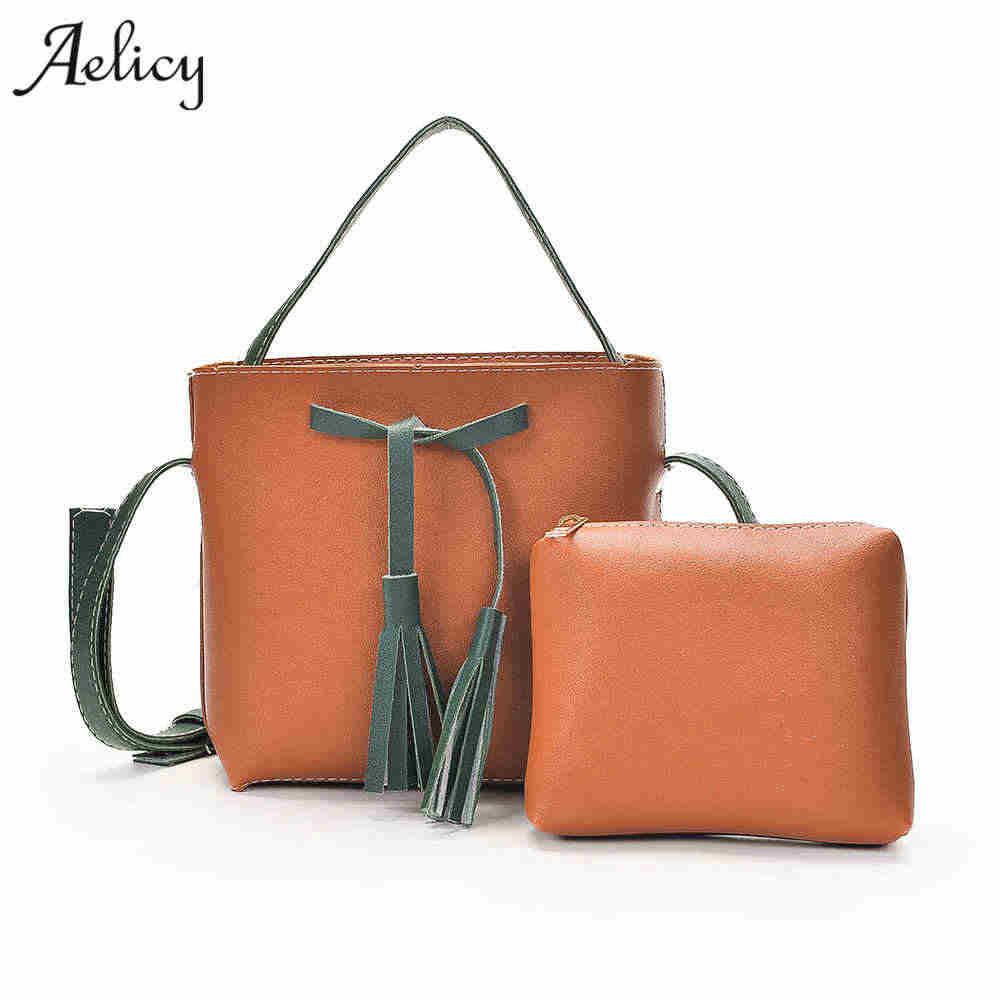 83c30f188419 Aelicy Для женщин 2 предмета/партия Сумки женская сумка кисточкой Для женщин  Крепкие Наплечные сумки