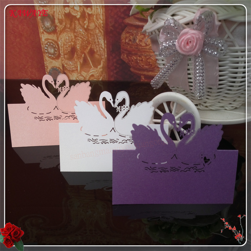 Us 12 59 51 Off 100pcs Wedding Seat Card Invitation Letter Greeting Card Name Place Card Hollow Out Pearlescent Paper Swan Table Cards 5zxx07 In