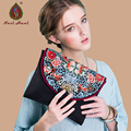 Newest Ethnic embroidered Butterfly buckle Women clutches Fashion Black ipad bags and case Vintage canvas casual  small handbags