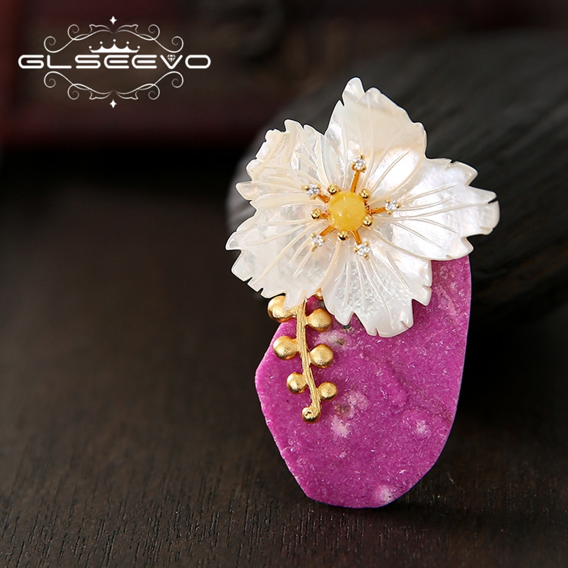 GLSEEVO Luxury Natural Stone Mother Of Pearl Flower Brooch Pin Beeswax Brooches For Women Dual Use Designer Fine Jewelry GO0217GLSEEVO Luxury Natural Stone Mother Of Pearl Flower Brooch Pin Beeswax Brooches For Women Dual Use Designer Fine Jewelry GO0217