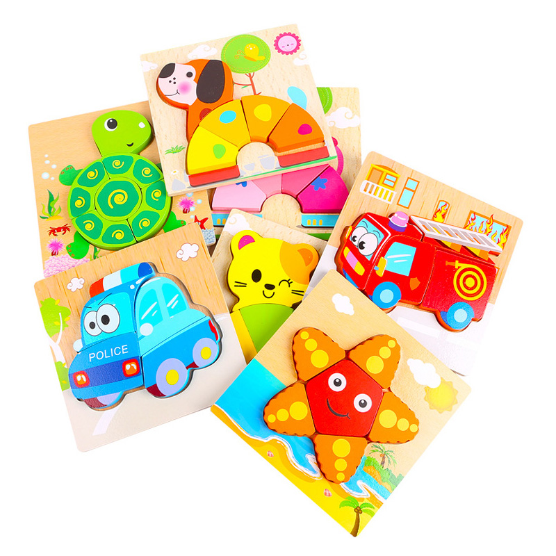 Children Intelligence Develop Wooden Puzzle Cartoon Toy 3D Wood Puzzle Jigsaw Puzzle For Kids Educational Montessori Wooden Toys