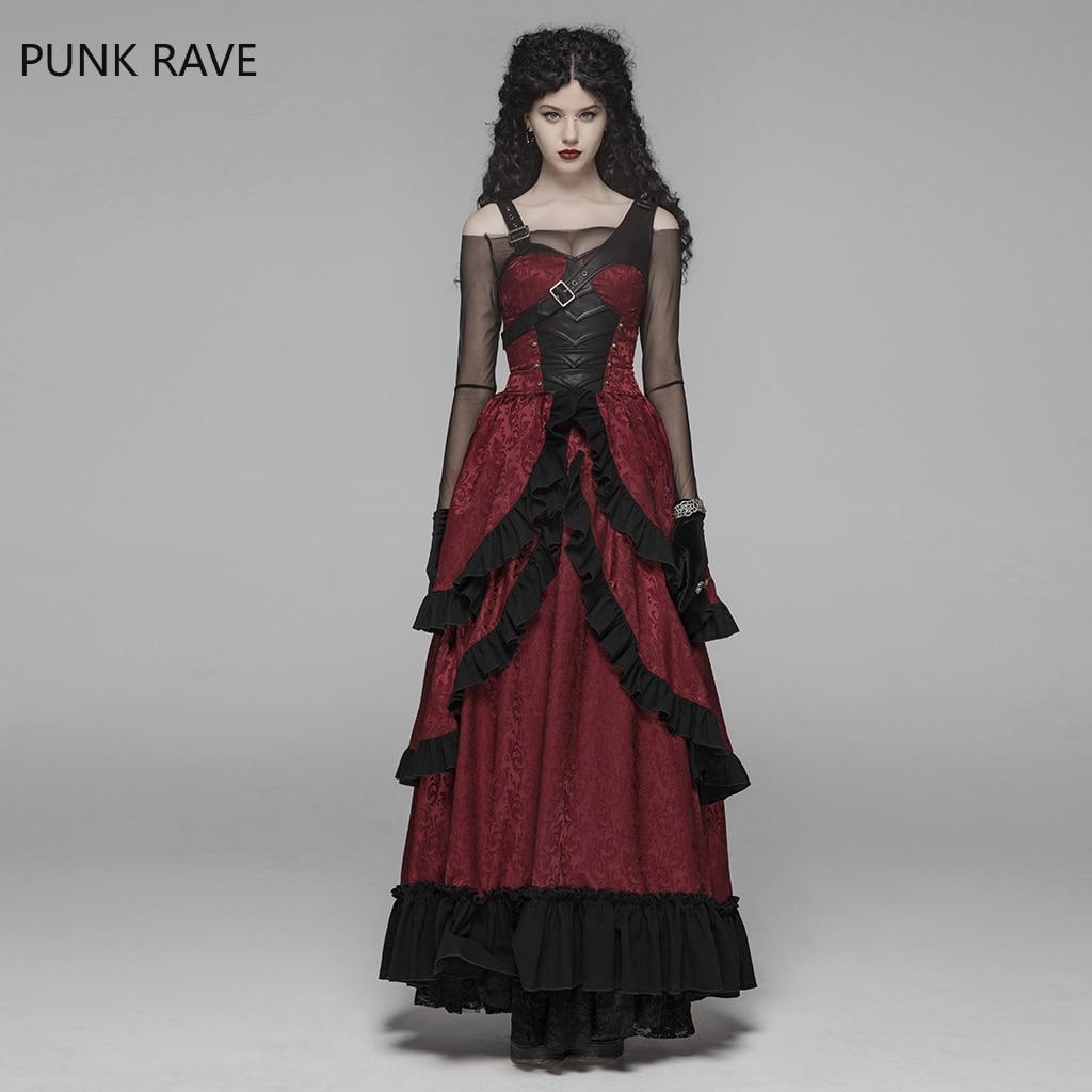 PUNK RAVE Women Steampunk Dress Retro Gorgeous Victorian Adjustable Buckles Jacquard Fabric Gothic Halloween Women Long Dress