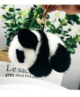 Glaforny Genuine Mink Fur Keychain Fashion Real Fur Panda Key ring Bag Pendant Gift Pendant Car Accessories Key Rings Toy