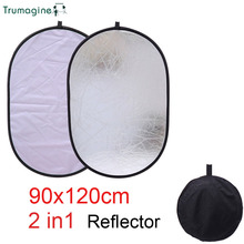 90x120CM 2 in 1 Silver&White Portable Collapsible Photo Studio Light Reflector Photography Oval Camera Accessories