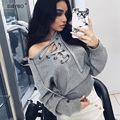 Julissa Mo Lace Up Sweater Women 2016 Casual Sueter Mujer Knitted Jumper Top Sexy Belt Ribbed Women Sweaters and Pullovers