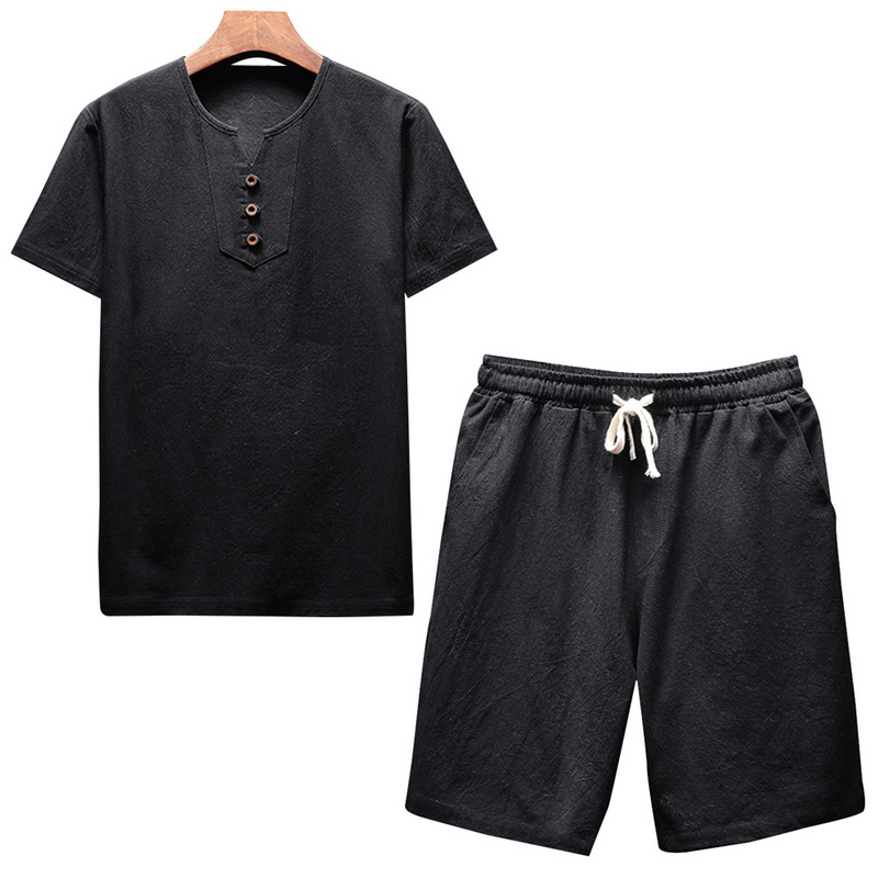 Lasperal Summer Men Set Fashion Solid Short Sleeve Oneck Linen T-Shirt Shorts Suit Casual Breathable Drawsting Tracksuit Male
