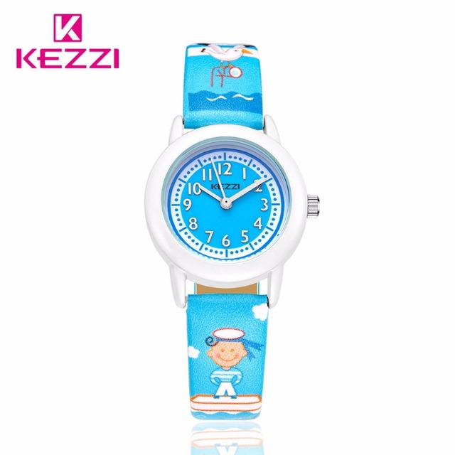 KEZZI New Fashion Casual Watch Children Cute Cartoon Seaman Pattern Sea Style Quartz Wristwatch Student Color