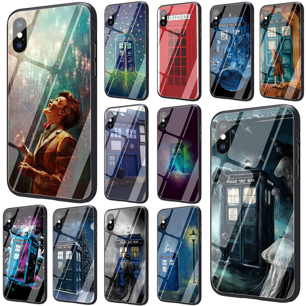 Half-wrapped Case Dr Doctor Who Police Call Box Tempered Glass Tpu Black Case For Iphone X Or 10 8 7 6 6s Plus 5 5s Se Xr Xs Max