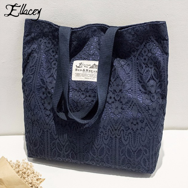 2017 Women Casual Shoulder Bag Lace Beach Bags Women Shopping Handbag Women Fashion Large Lace Bag Canvas Large Shopper Tote Bag aosbos fashion portable insulated canvas lunch bag thermal food picnic lunch bags for women kids men cooler lunch box bag tote