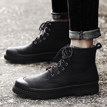 Genuine Leather High-top Men Shoes High Quality Trainers Fashion All Black Work Safety Shoes Man Military Boots Men Casual Shoes цены онлайн