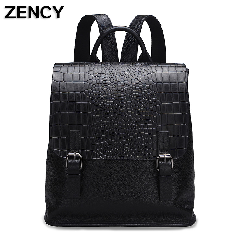 ZENCY Cow Leather Women Backpack Genuine Real Leather Cowhide Girl Female Backpacks Designer Bag Schoobag zency genuine leather backpacks female girls women backpack top layer cowhide school bag gray black pink purple black color