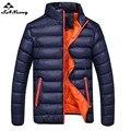 2017 novos homens de inverno sólida jaqueta ultraleve homens algodão marca dress moda grosso exteriores coats roupas masculinas plus size 4xl