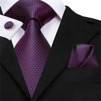 C-3123 Hi-Tie Silk Men Tie Purple Necktie Handkerchief Cufflinks Set Fashion Men's Classic Party Wedding Tie Set 8.5cm wide