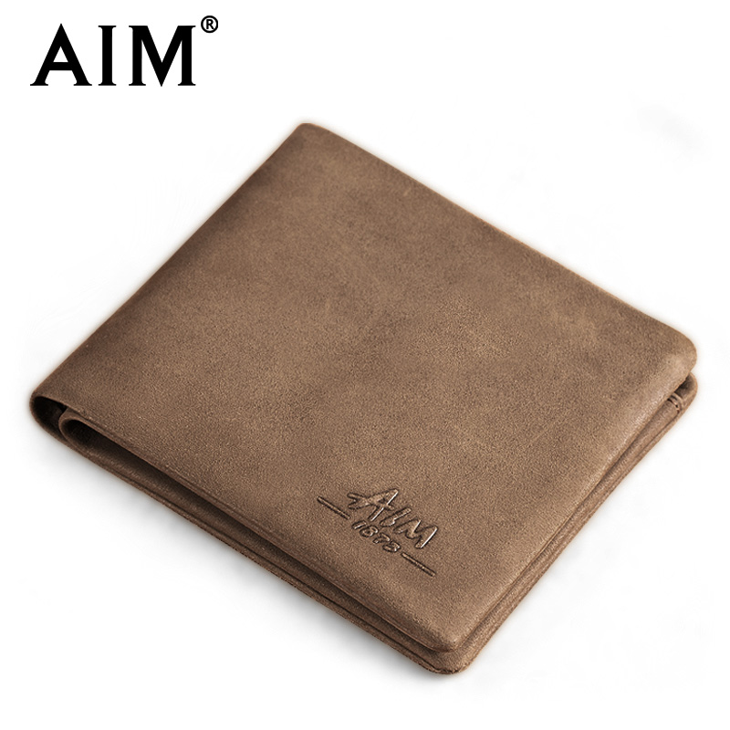 AIM Real Genuine Leather Wallet Men Luxury Brand Wallets Short Suede Leather Card Holder Fashion Male Vintage Coin Purse A213 men wallet male cowhide genuine leather purse money clutch card holder coin short crazy horse photo fashion 2017 male wallets
