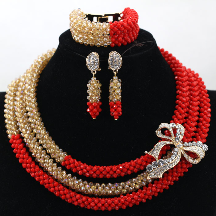 New Arrival Simple Red Bridal Crystal Necklace Set Dubai ...