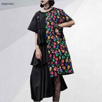 Vintage Irregular Cake Dress 2019 Summer Skull Print Patchwork Women Dresseses Korean Elegant Shirt Vestidos Dress SA054S50