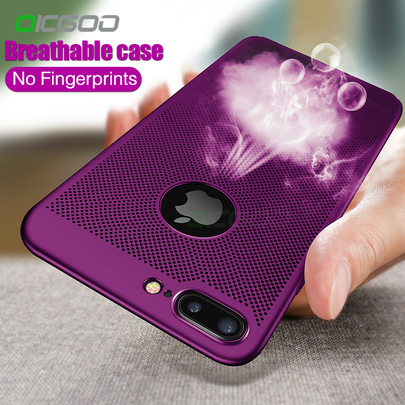 OICGOO Luxury Heat Dissipation Phone Case For iPhone 7 8 6 6s Plus Cases Protective Cover For iPhone 7 6 6s 8 Plus X Case Shell