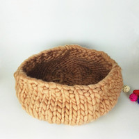 new best cocoon Chunky Knit Cocoon Nest Pod Photography Prop Handmade Woven Basket Newborn Baby Infant Boat Box