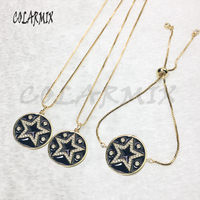 Black star jewelry necklace round pendants necklace star bracele accessories jewels sets eye star jewels for women 5638