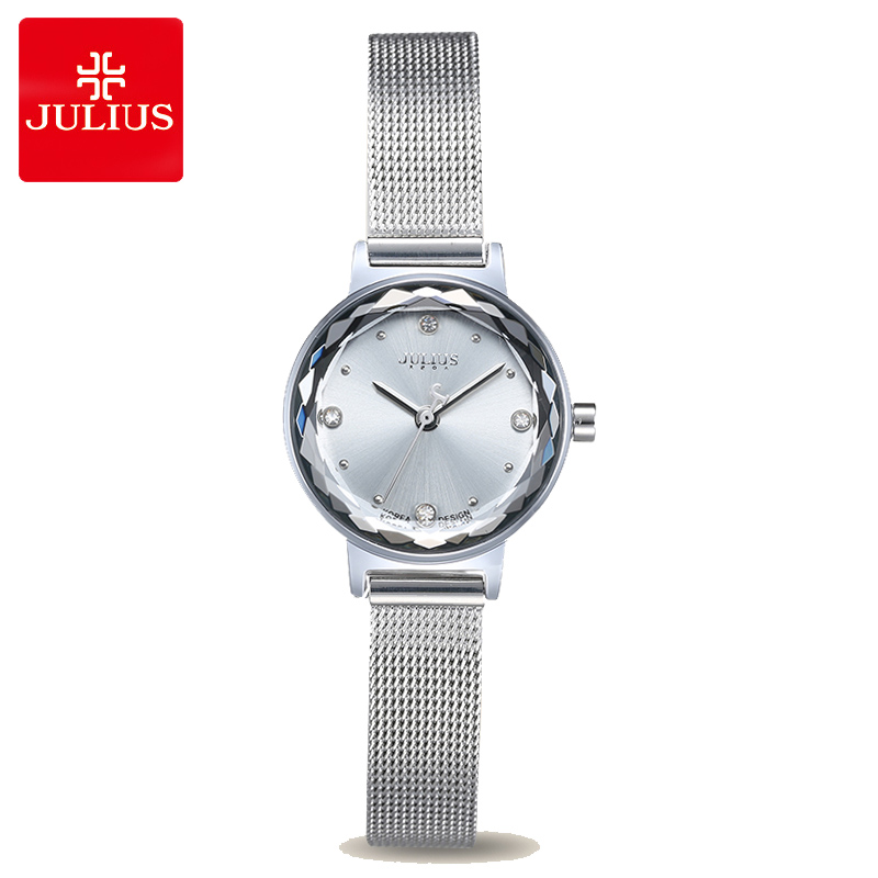 Simple Cutting Glass Women's Watch Japan Quartz Hours Fashion Dress Stainless Steel Bracelet Birthday Girl Gift Julius Box new simple cutting glass women s watch japan quartz hours fashion dress stainless steel bracelet birthday girl gift julius box