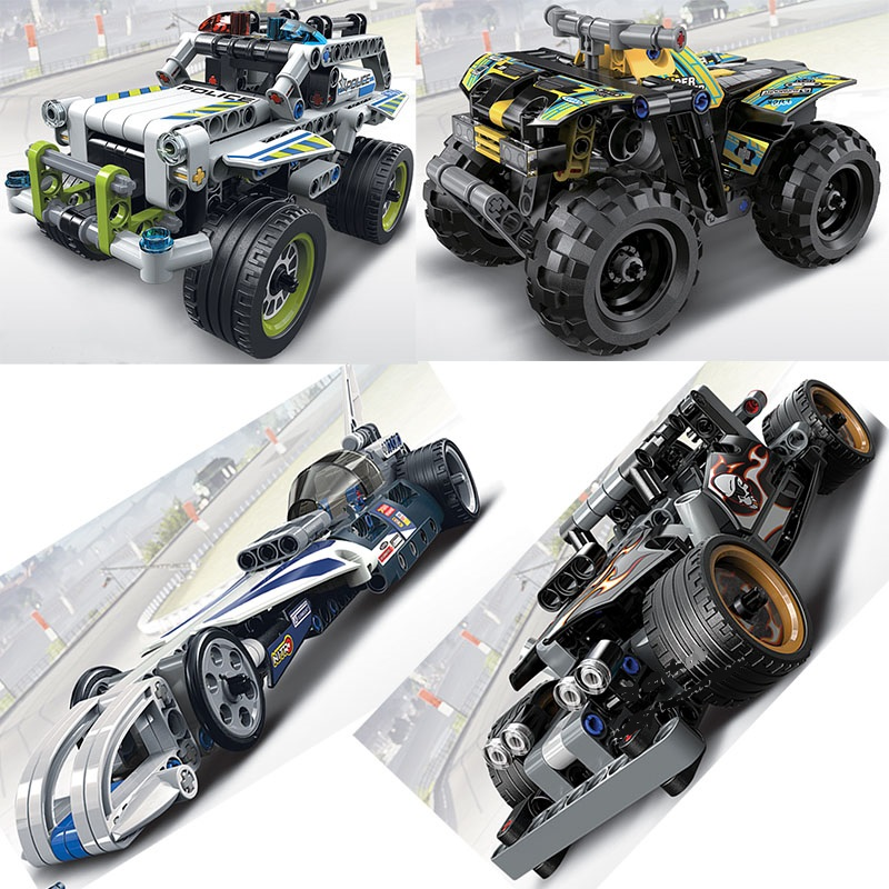 Decool Racing Car TECHNIC 2 in 1 warrior  Model building block sets bricks TOYs FIT for LEGO for minifigure 42058 42059 608pcs race truck car 2 in 1 transformable model building block sets decool 3360 diy toys compatible with 42041
